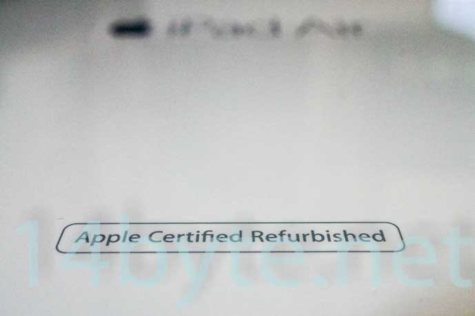 apple-certified-refurbishedの印字