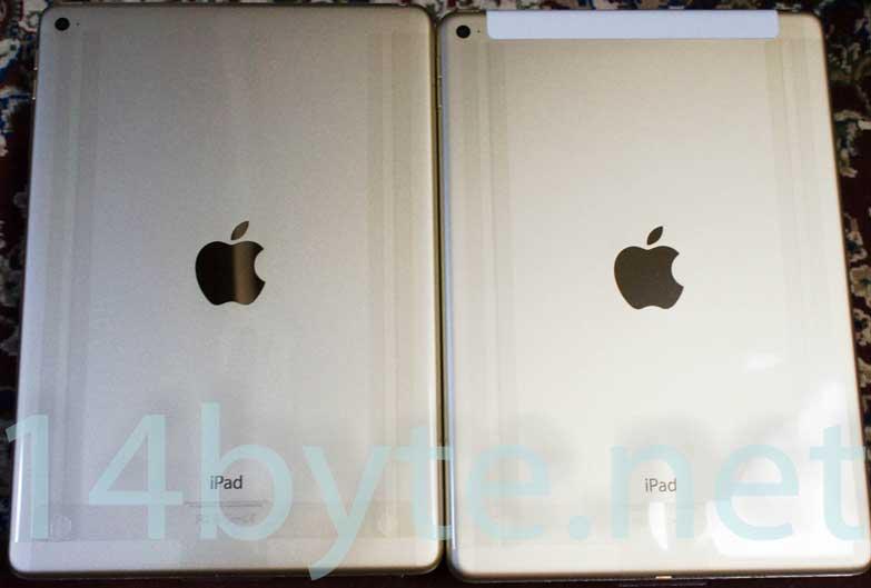 ipad air2の裏側。正規品(右)と整備済製品(左)